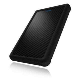 "Icy Box IB-223U3a-B Externes Gehäuse für 2,5"" (6,35 cm) SATA HDD/SSD mit USB 3.0 Anschluss (UASP), SATA III, Carbon-Look, Silikonschutz (schwarz)"
