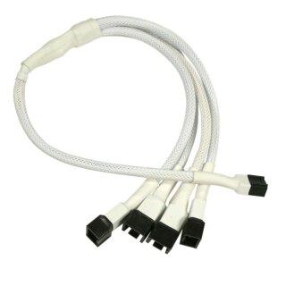 Nanoxia 3-Pin Molex auf 4 x 3-Pin Adapter, 30 cm, weißer Sleeve