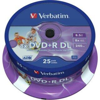 Verbatim DVD+R 8.5 GB DL 8x Inkjet printable, 25er Spindel