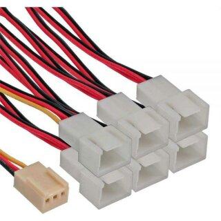 Lüfter Adapterkabel, 3pol Molex Buchse an 6 x 3pol Molex Stecker