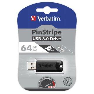 Verbatim Store n Go Pinstripe USB 3.0 black - USB-Stick - 64 GB