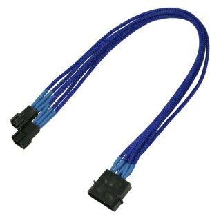 Nanoxia 4-Pin Molex auf 2 x 3-Pin Adapter, 30 cm, blauer Einzelsleeve