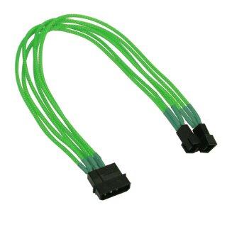 Nanoxia 4-Pin Molex auf 2 x 3-Pin Adapter, 30 cm, neon-grüner Einzelsleeve
