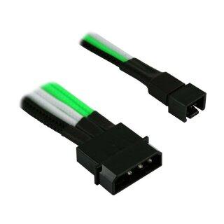 Nanoxia 4-Pin Molex auf 2 x 3-Pin Adapter, 30 cm, grün/weiß/schwarzer Einzelsleeve