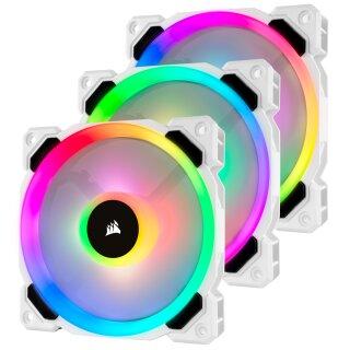 Corsair LL Series LL120 RGB, weiß, 120mm, 3er-Pack, LED-Steuerung