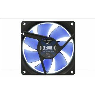 Noiseblocker X-1 BlackSilent Fan, 80 mm Silent Lüfter, Geräuscharmer Kühler, FAN