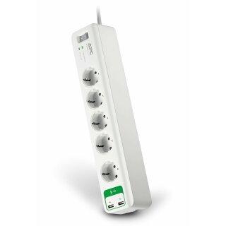 APC SurgeArrest Essential 5-fach Überspannungsschutz, 2x USB Steckdose